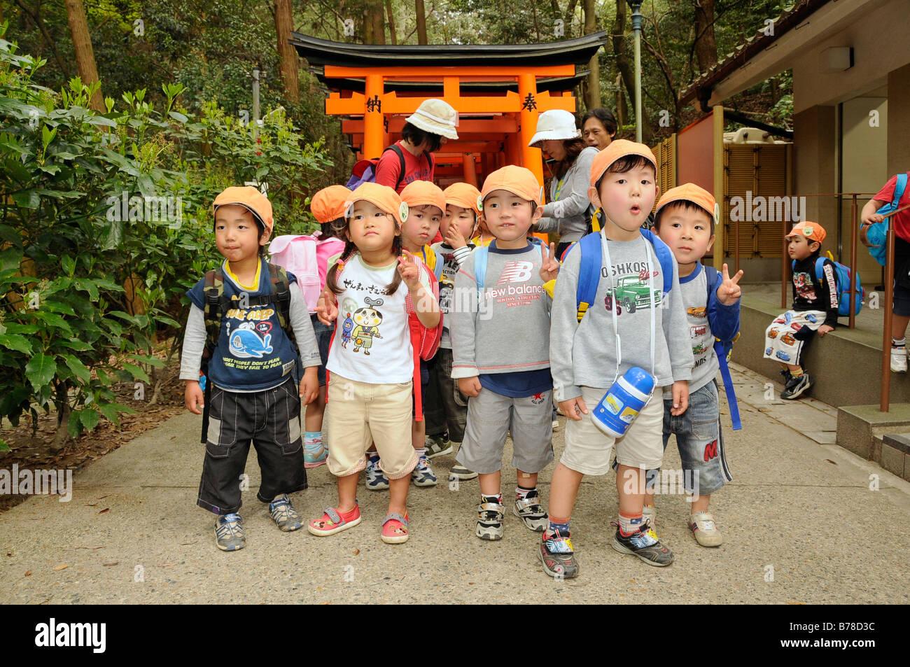 japanese kindergarten children visiting the fujimi shrine. Black Bedroom Furniture Sets. Home Design Ideas