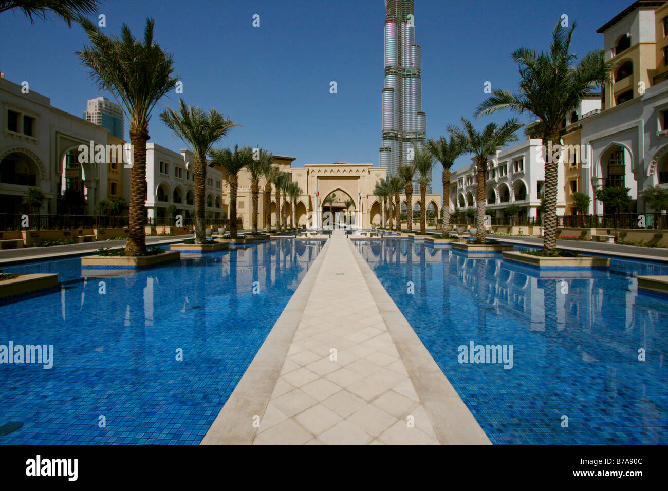 Swimming pool of palace hotel with burj dubai at the back - Swimming pool construction companies in uae ...