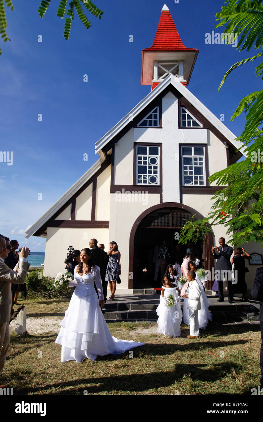 Wedding in Eglise de Cap Malheureux Mauritius Africa Stock Photo