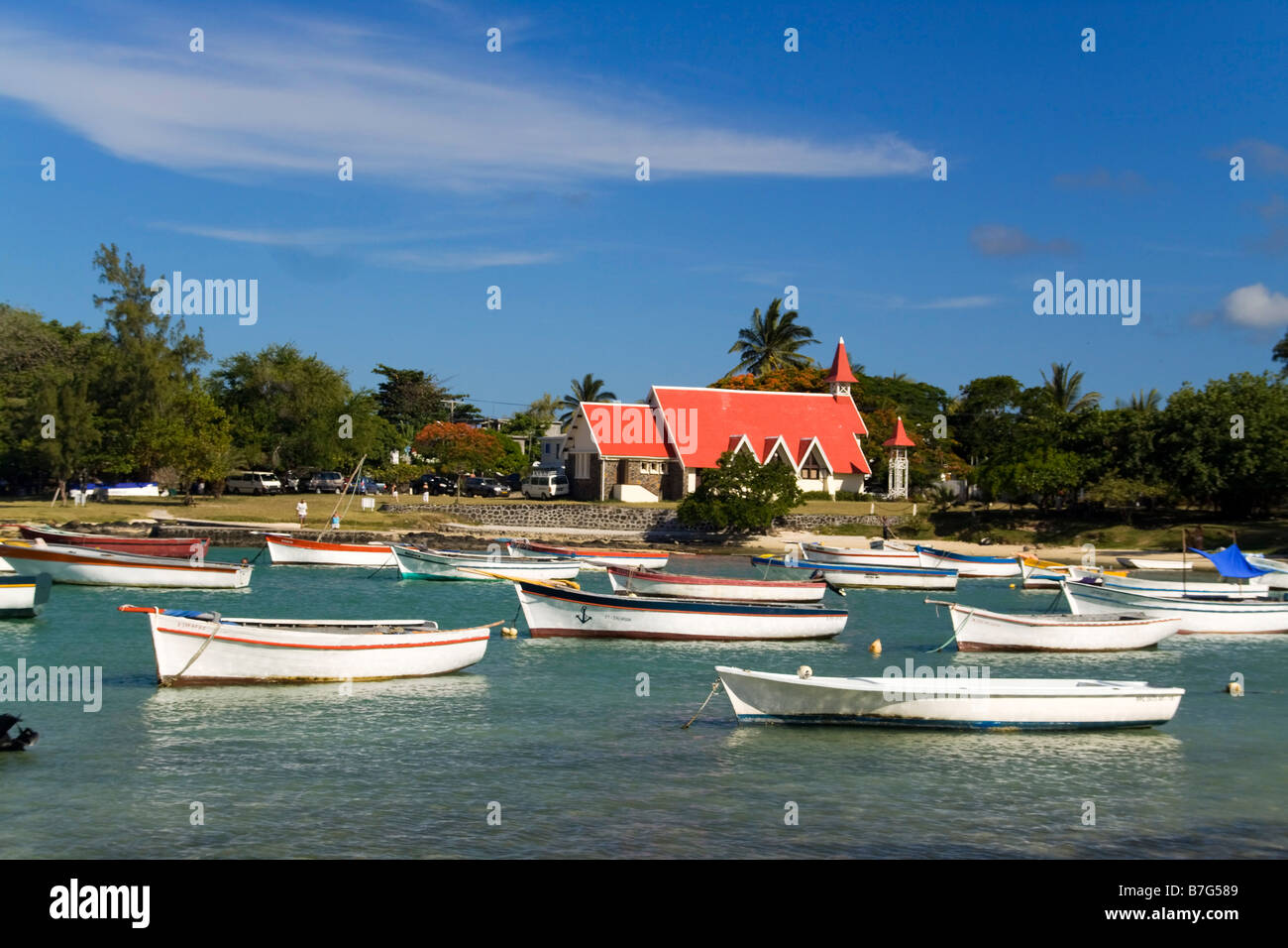 Eglise de Cap Malheureux boats Mauritius Africa Stock Photo