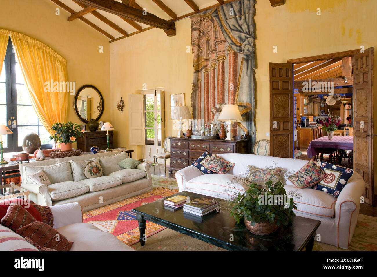 Large White Sofas In Yellow Spanish Living Room With Trompe L Oeil Stock Photo Royalty Free