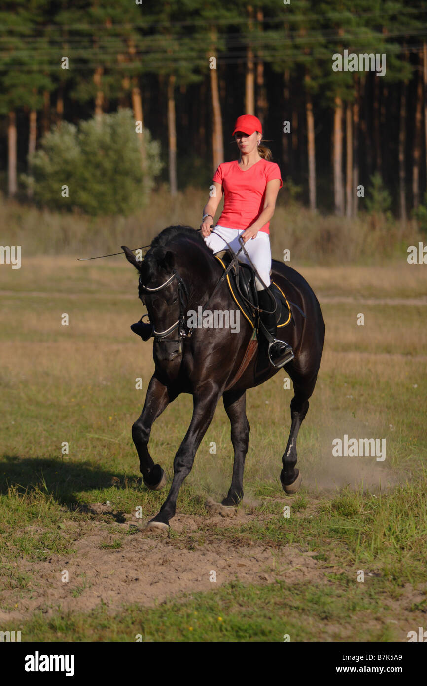 Woman riding black horse down the path in the park Stock ...