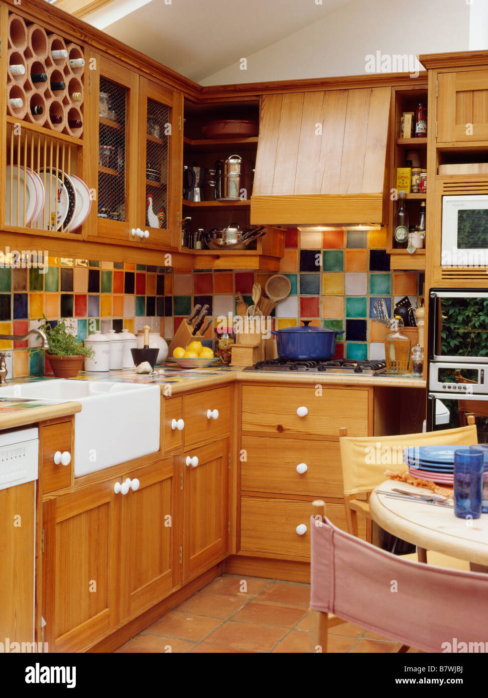 Multi Coloured Wall Tiles In Kitchen Dining Room With