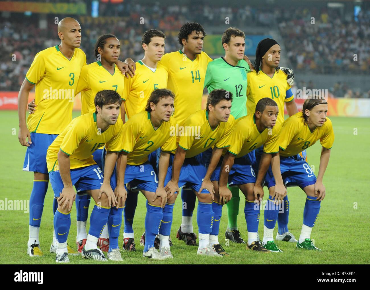 Brazil team group line up BRA AUGUST 19 2008 Football ...
