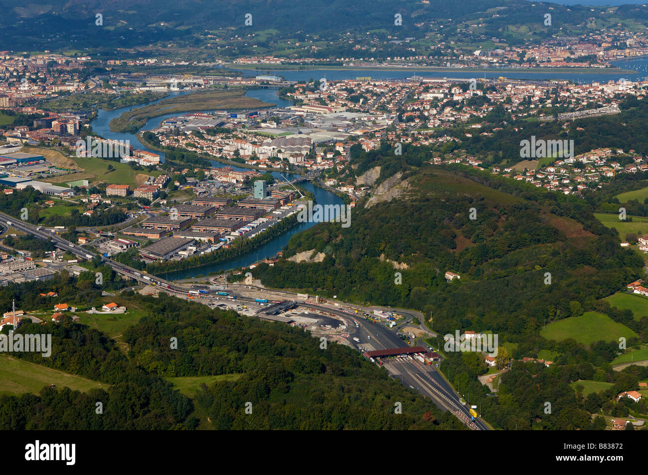 aerial view of hendaye and irun cities in the pays basque france and stock photo royalty free. Black Bedroom Furniture Sets. Home Design Ideas