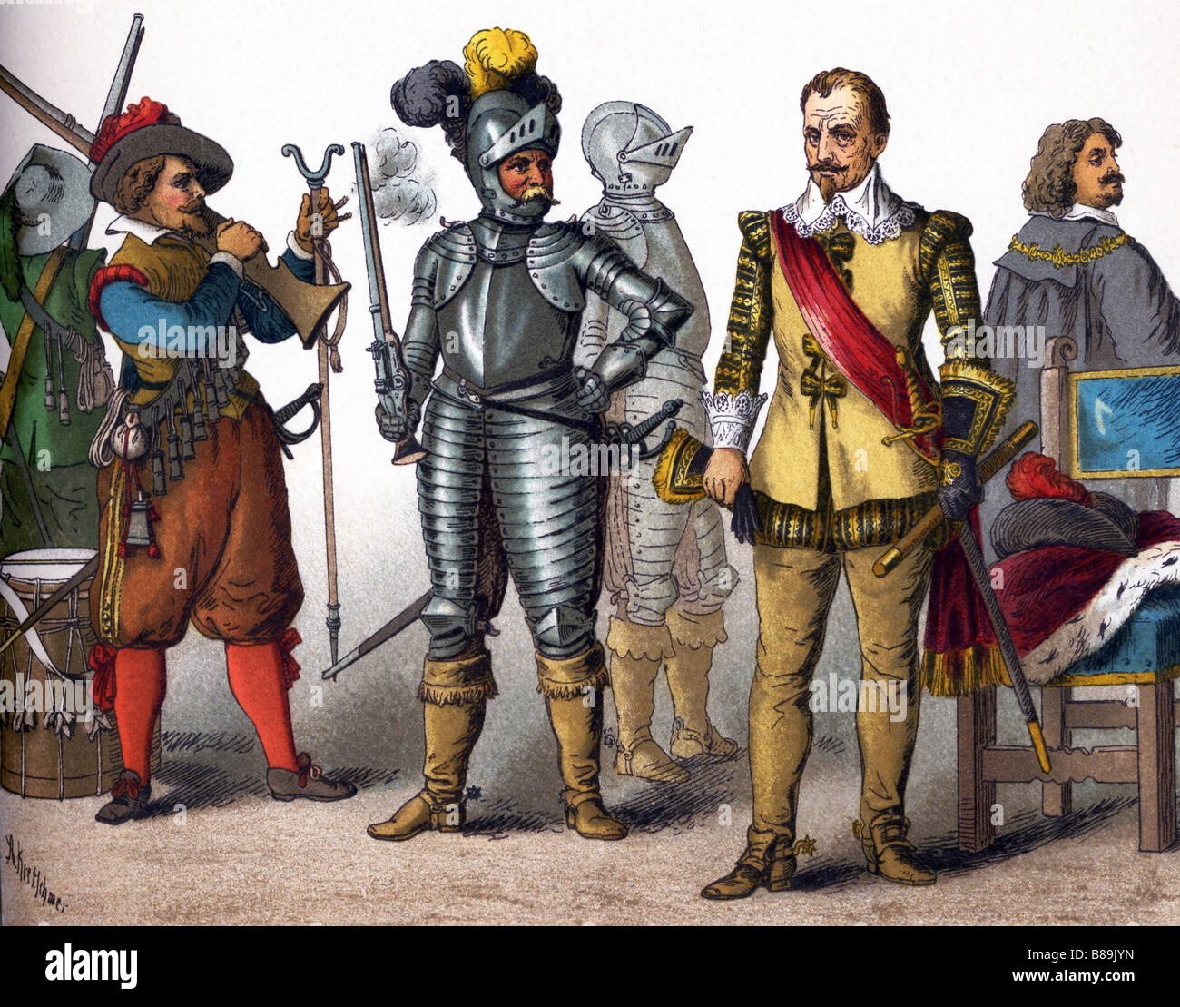 German Military And Nobles In 1600s Stock Photo, Royalty
