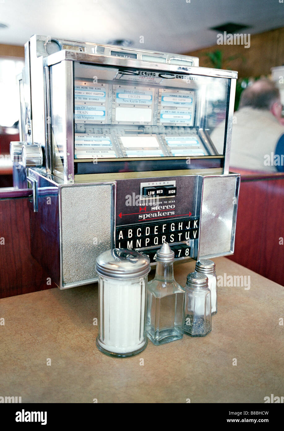 Vintage table jukebox an old diner stock photo royalty for Table a diner