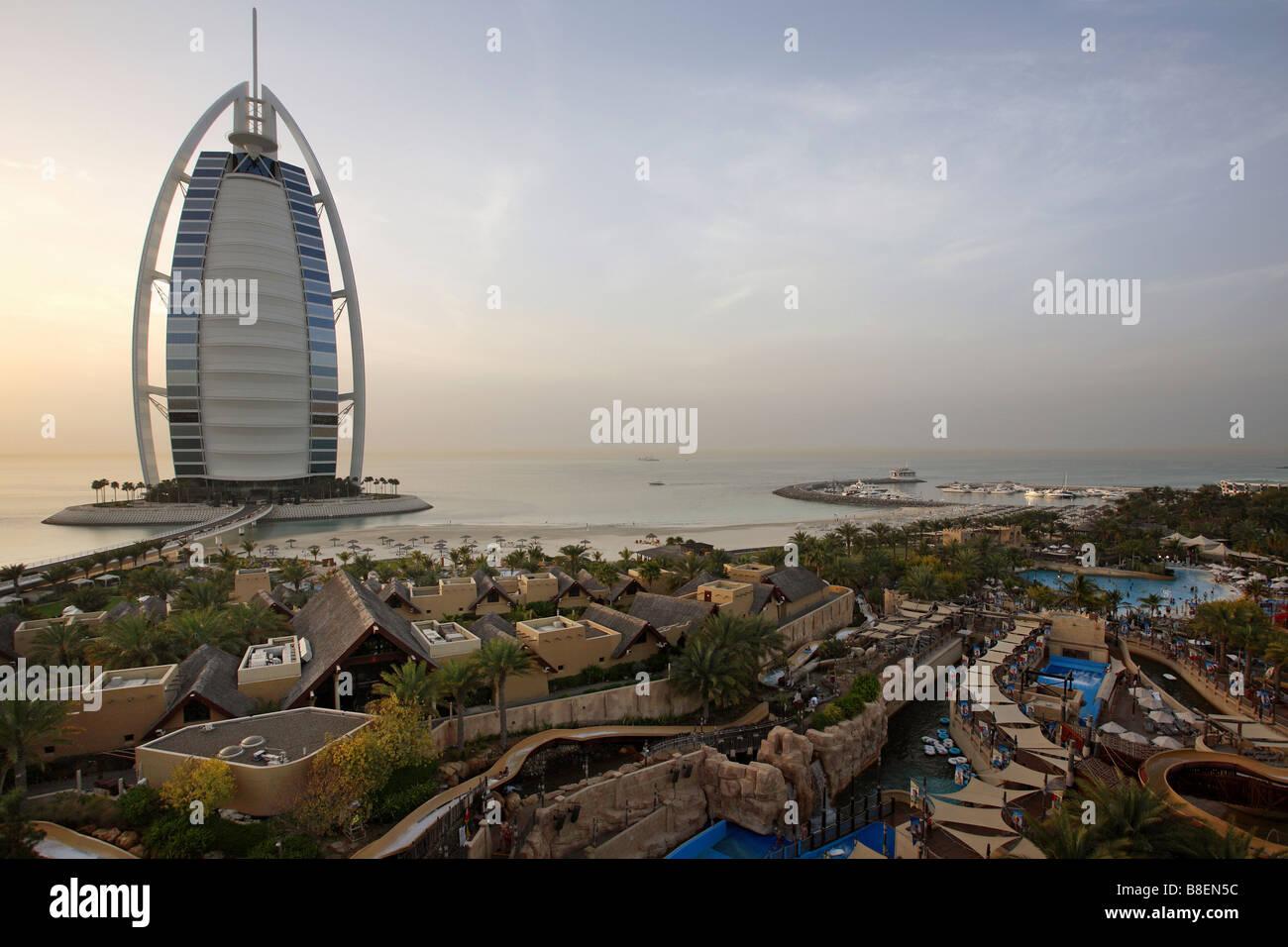 View Of Burj Al Arab Building And Wild Wadi Water Park In