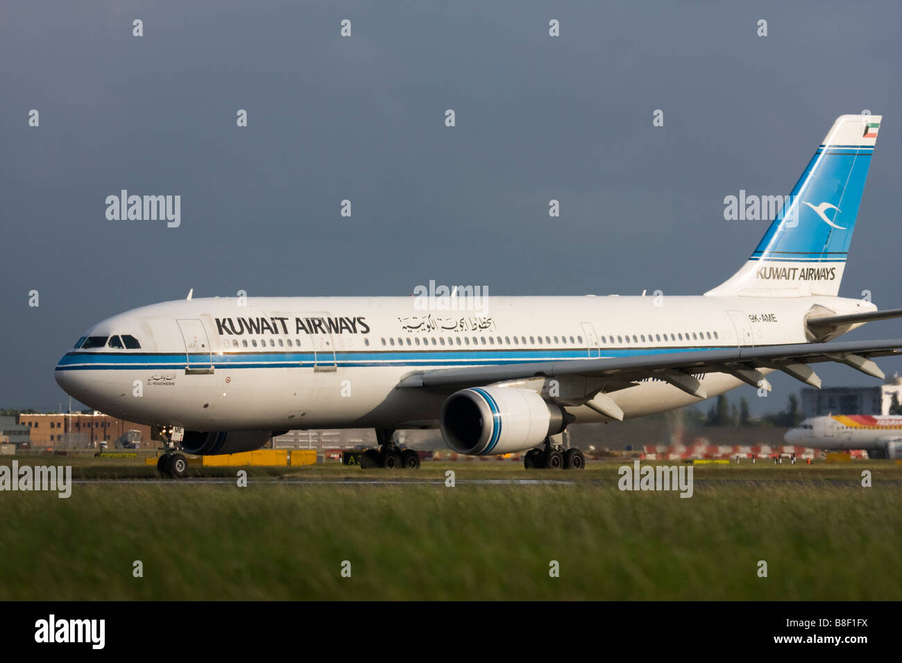 Kuwait Airways Airbus A300B4-605R taxiing for departure at London Heathrow airport. Stock Photo