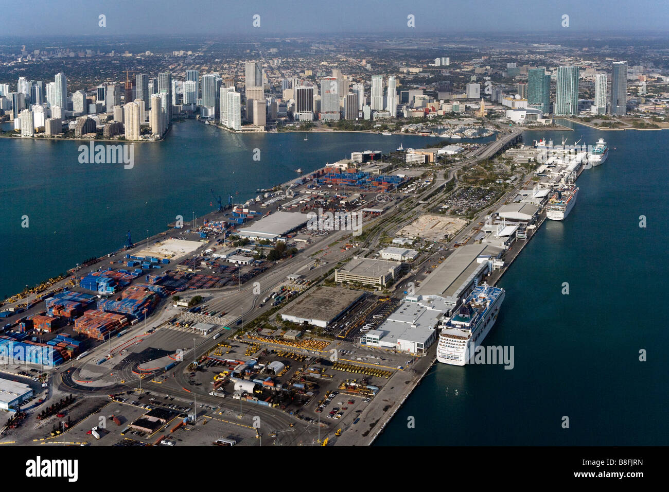 aerial view above Dodge Island Port of Miami Biscayne Bay Florida Stock Photo