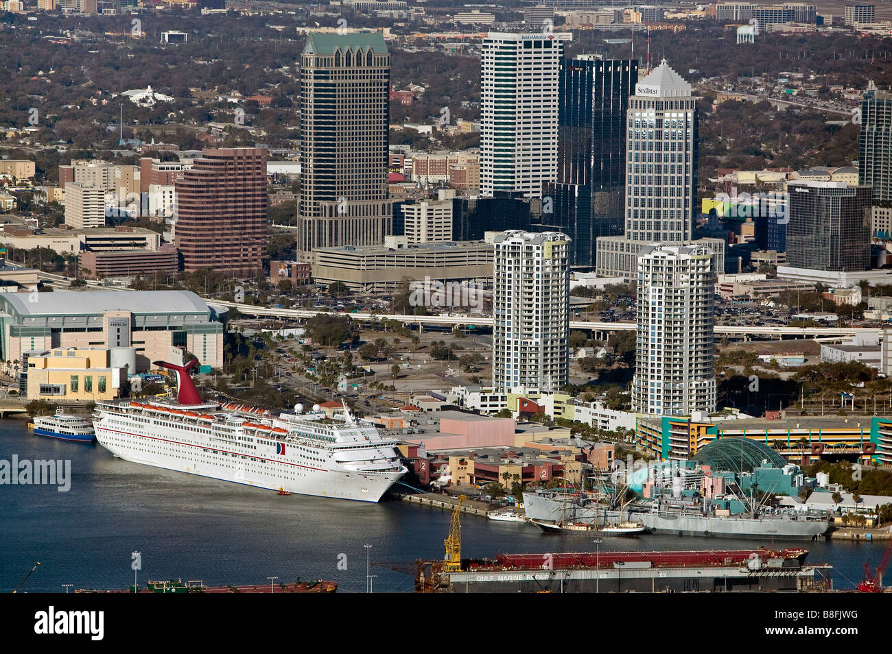 aerial view above cruise terminal Port of Tampa Florida Stock Photo