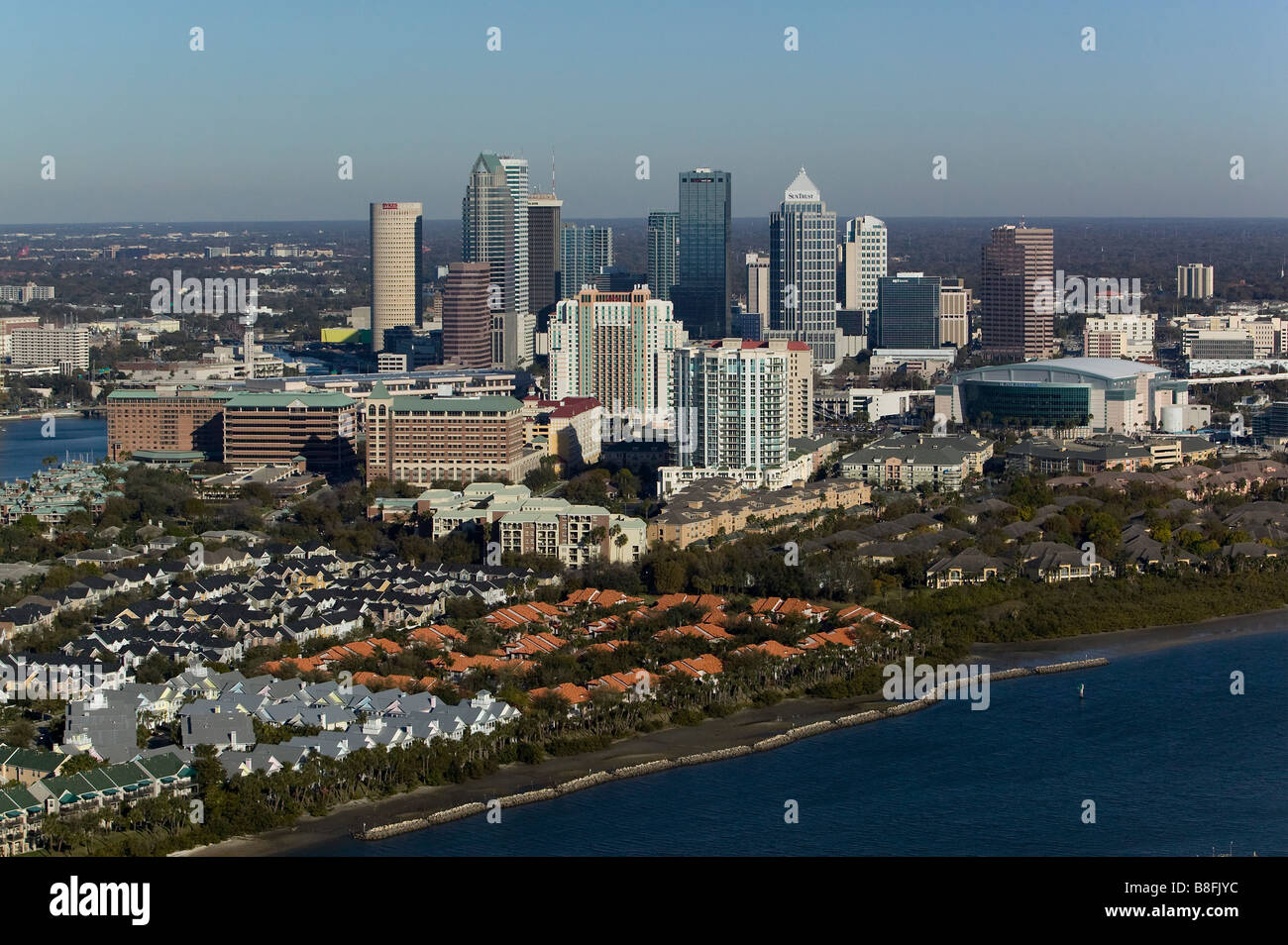 aerial view above Tampa Florida skyline Stock Photo