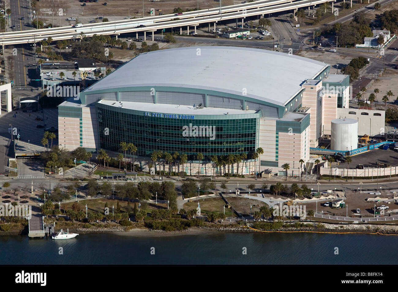 aerial view above the St Pete Forum Tampa Florida Stock Photo