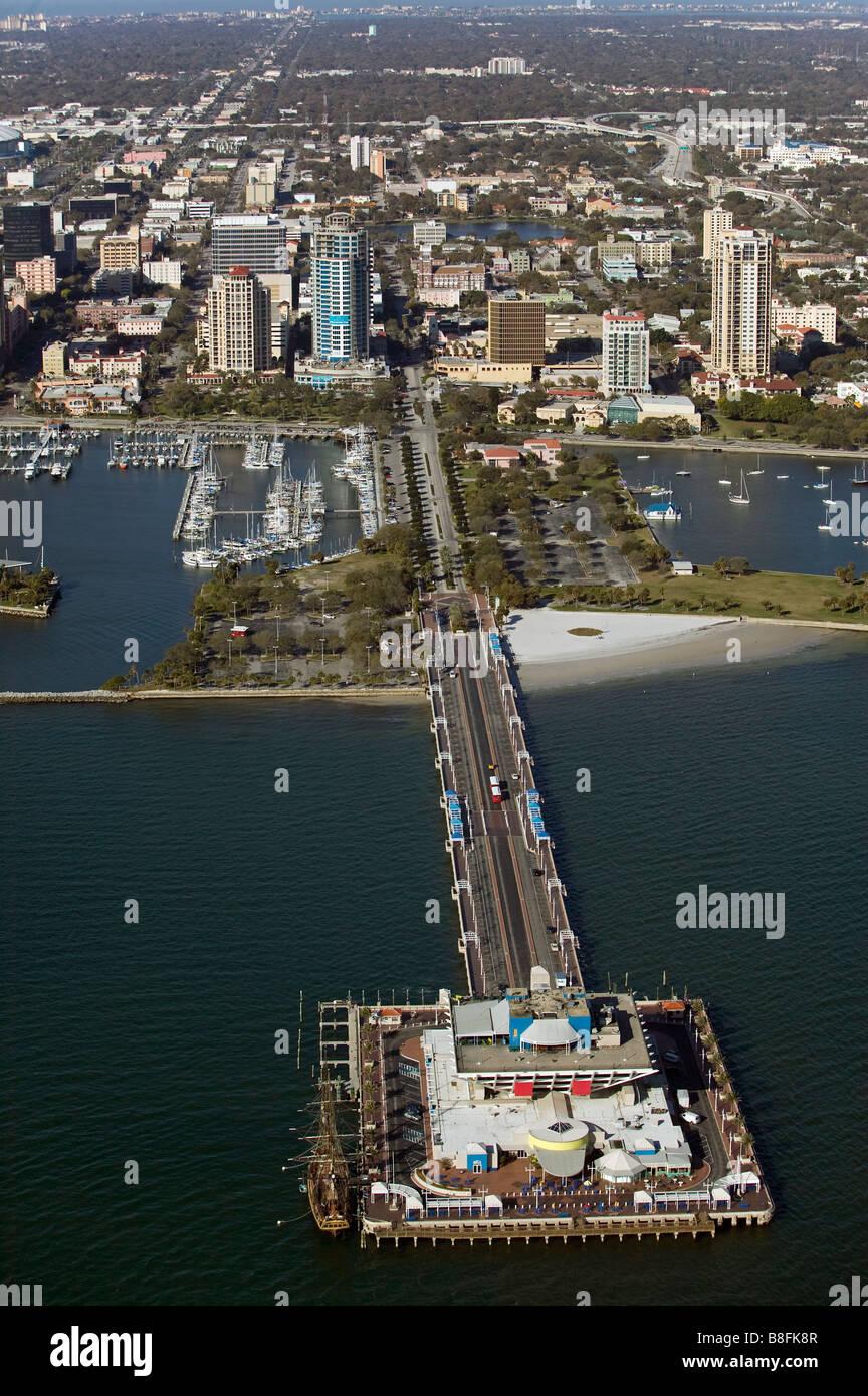 aerial view above St. Peterburg pier marinas Tampa Bay Florida Stock Photo
