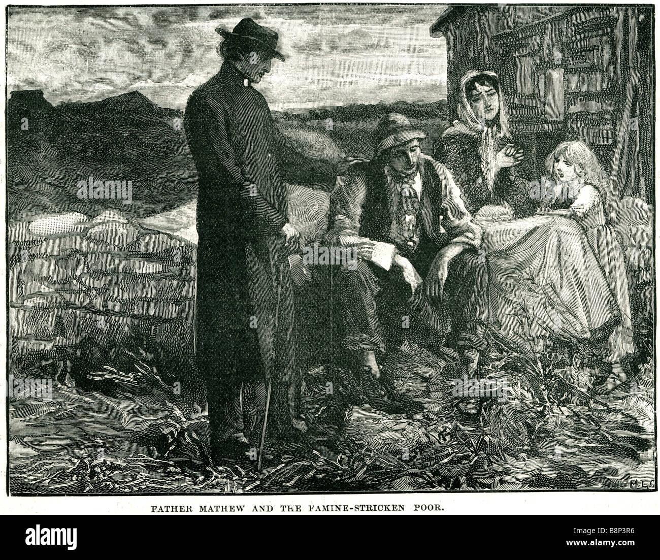 father Theobald Mathew famine stricken poor 1845 Stock Photo