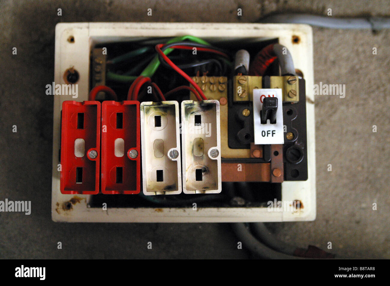 old style consumer unit electrical wire fuse box stock. Black Bedroom Furniture Sets. Home Design Ideas