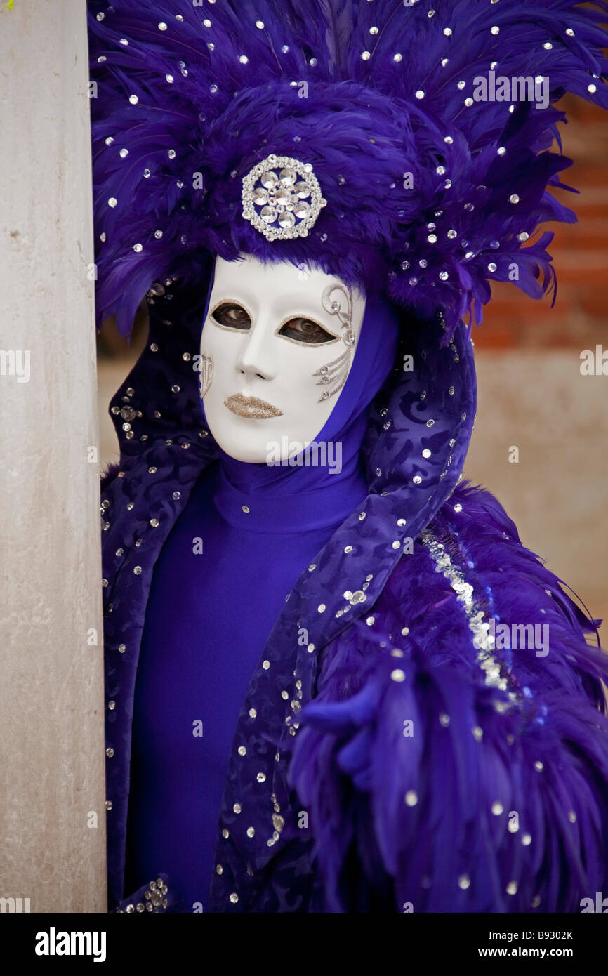 Venice Full Face Black Mirror Mask: Venice Carnival. Full Length Girl Woman Purple Hat Costume