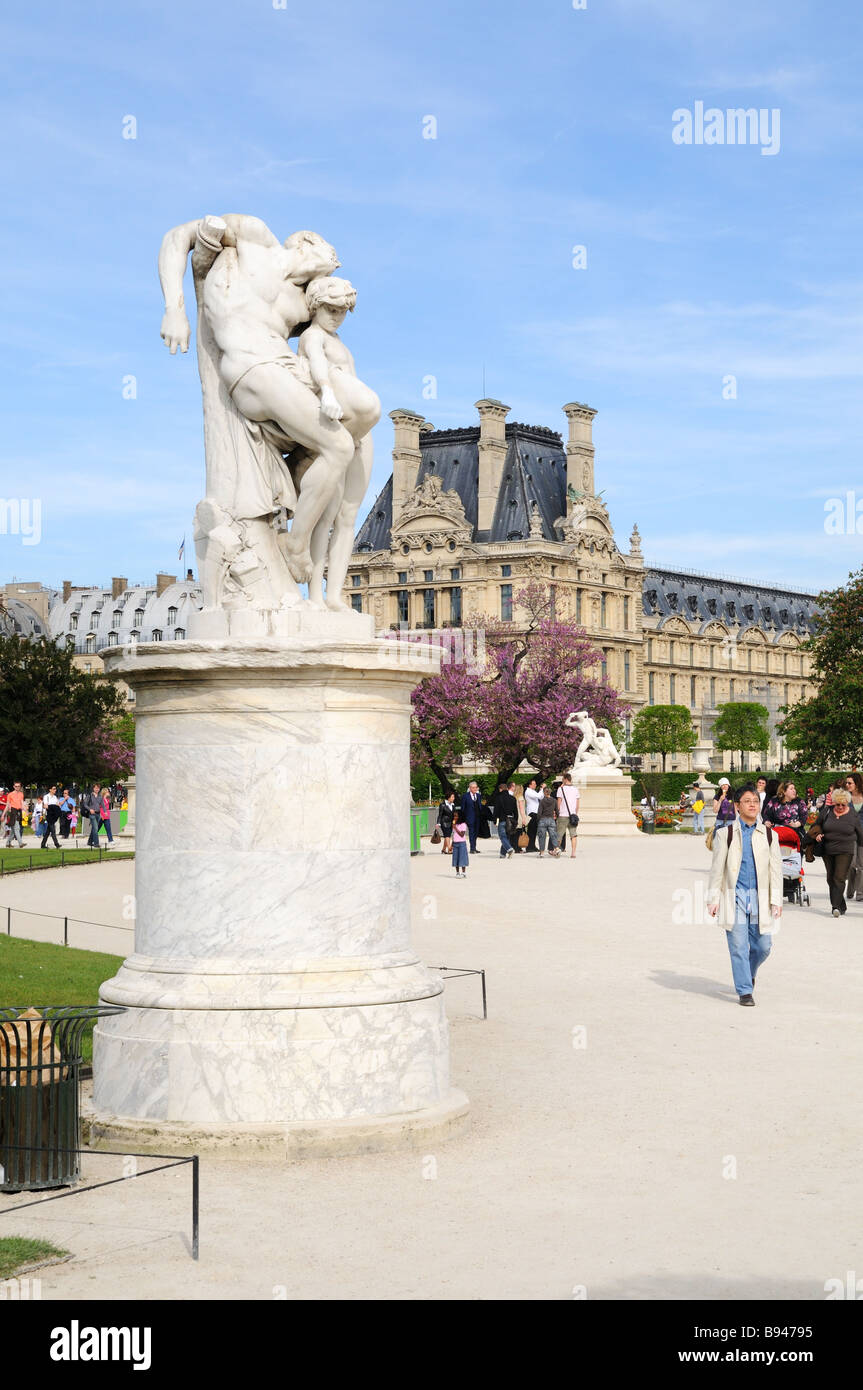 Statue in the jardin des tuileries looking towards the louvre stock photo royalty free image - Statues jardin des tuileries ...