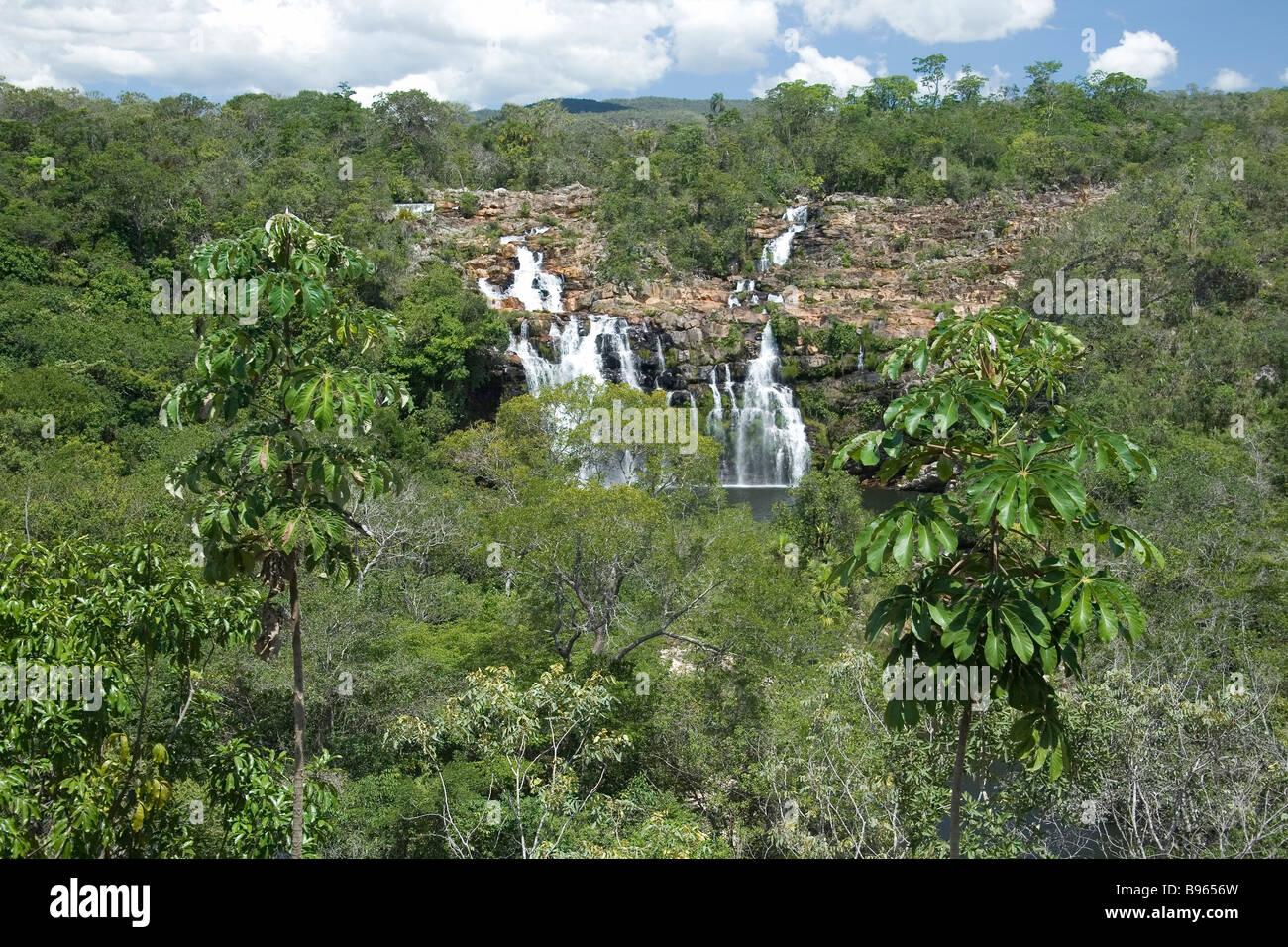 Cachoeira do Poço Encantado, Enchanted Pond Waterfall, Chapada dos Veadeiros, Veadeiros Tableland, Goias, Brazil Stock Photo