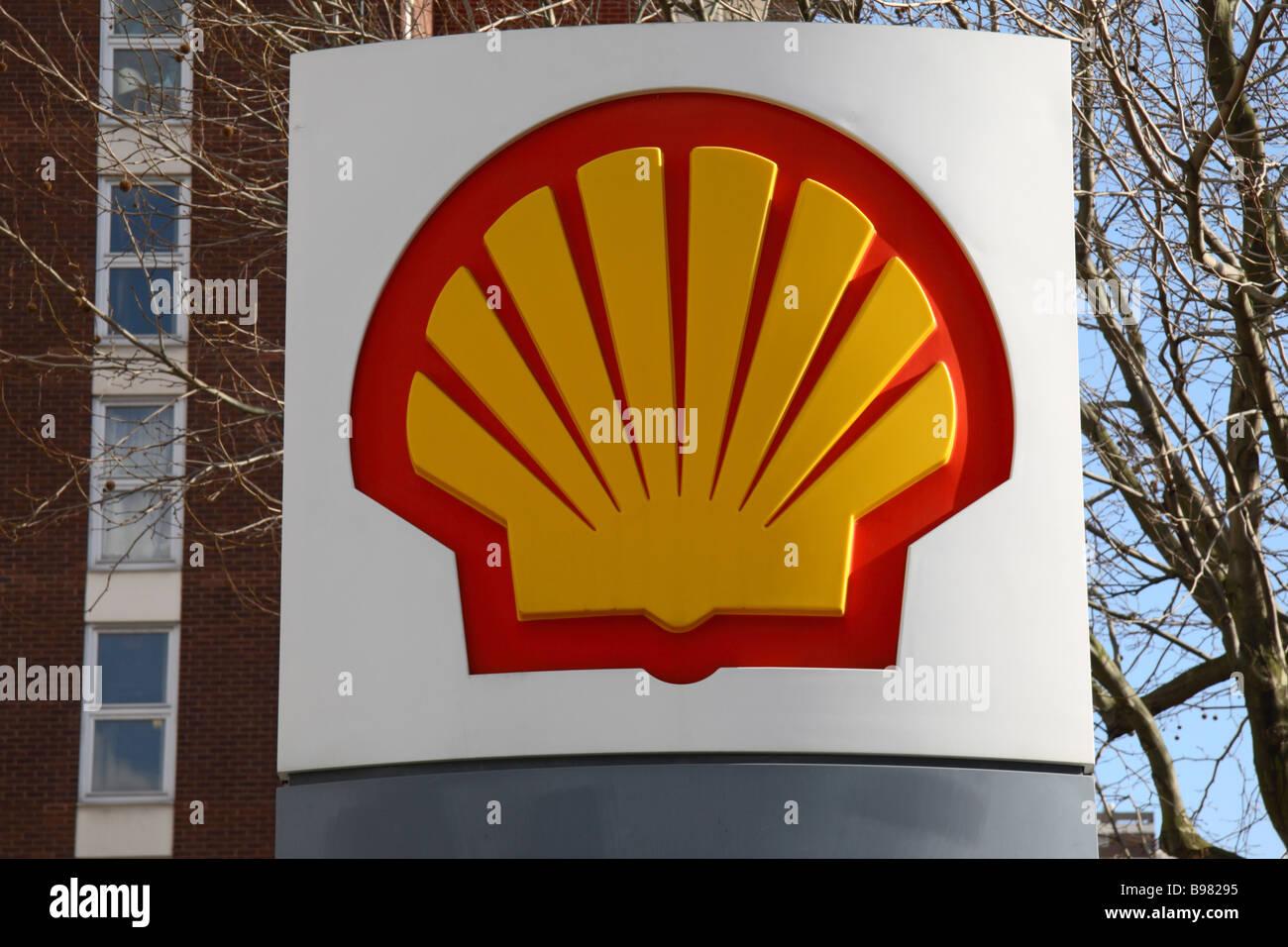 the royal dutch shell logo on a sign outside a petrol