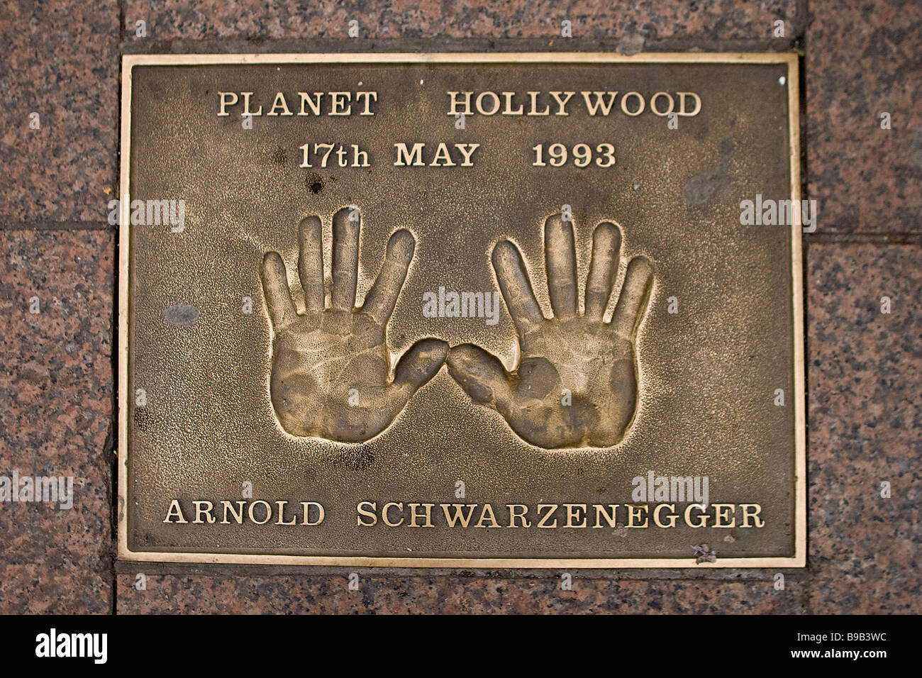 Austrian actor Arnold Schwarzenegger: hand prints at Leicester Square, London.