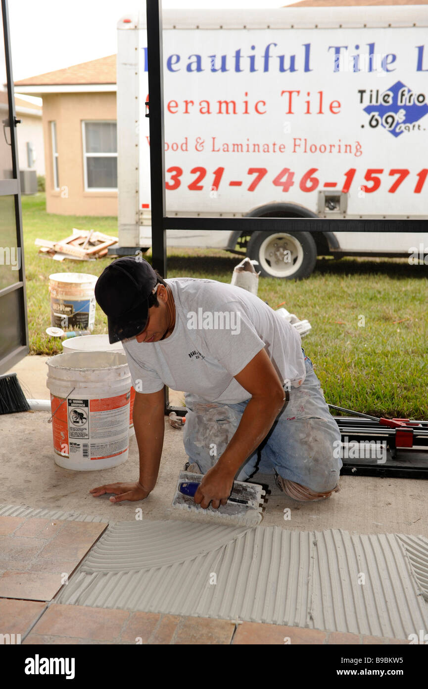 Laying ceramic tile on cement floor