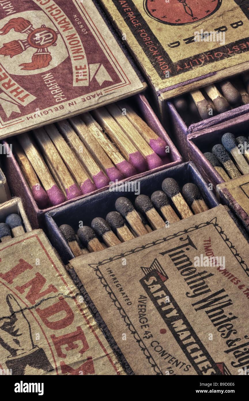 Vintage matchboxes Stock Photo