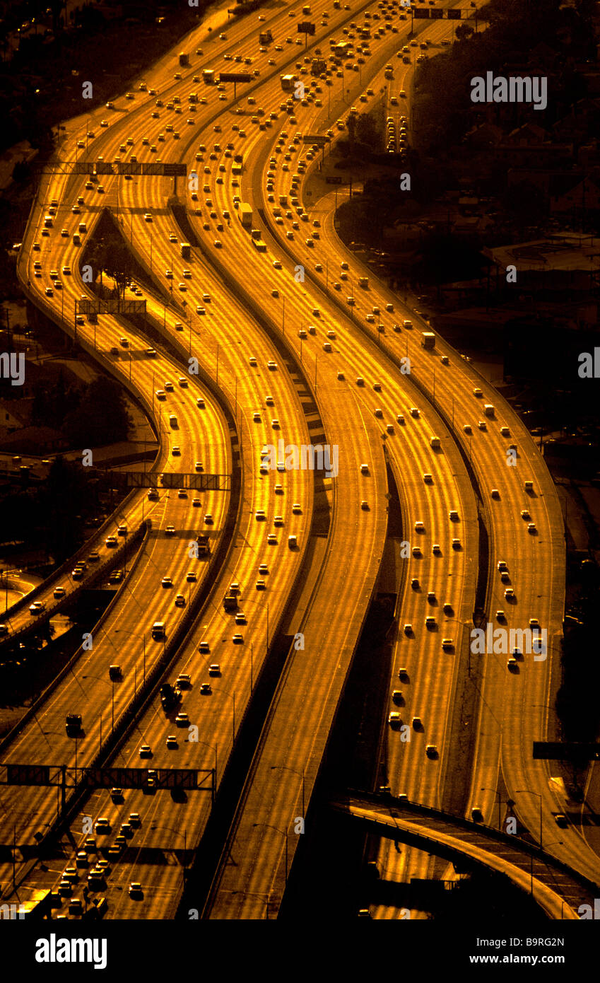 Aerial view of freeways, Los Angeles, California. Stock Foto