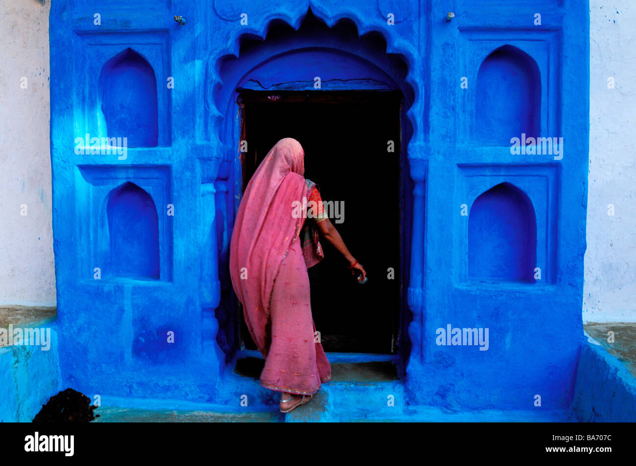 India, Rajasthan State, Jodhpur, the old blue town Stock Foto