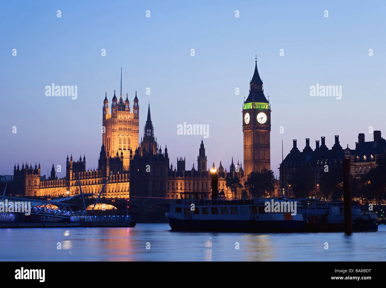 Houses of Parliament, Thames River, London, UK. sunset Stock Photo