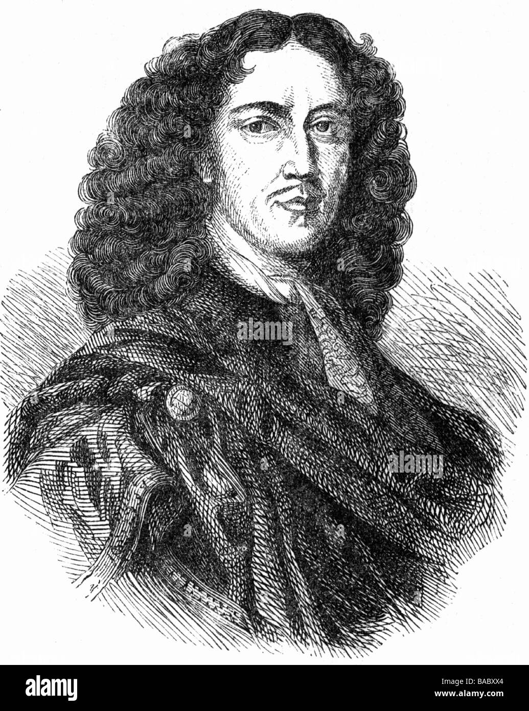 Quirinus Kuhlmann, 25.2.1651 - 4.10.1689, German author / writer, portrait, wood engraving, 19th century, Lutheran, lyrical poet Stock Photo