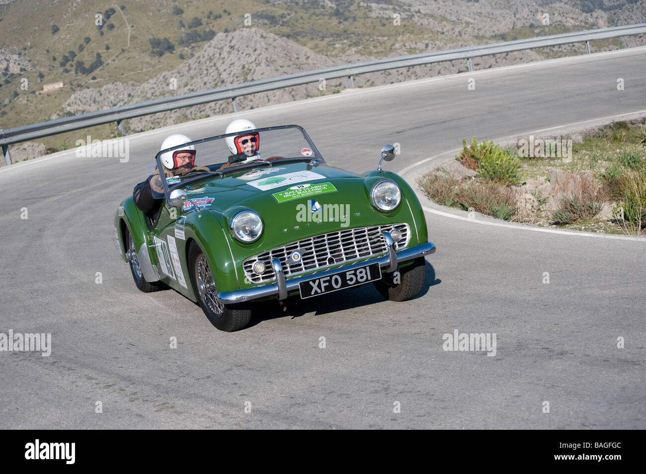 Green 1960 Triumph Tr3a Classic Sports Car Racing In The