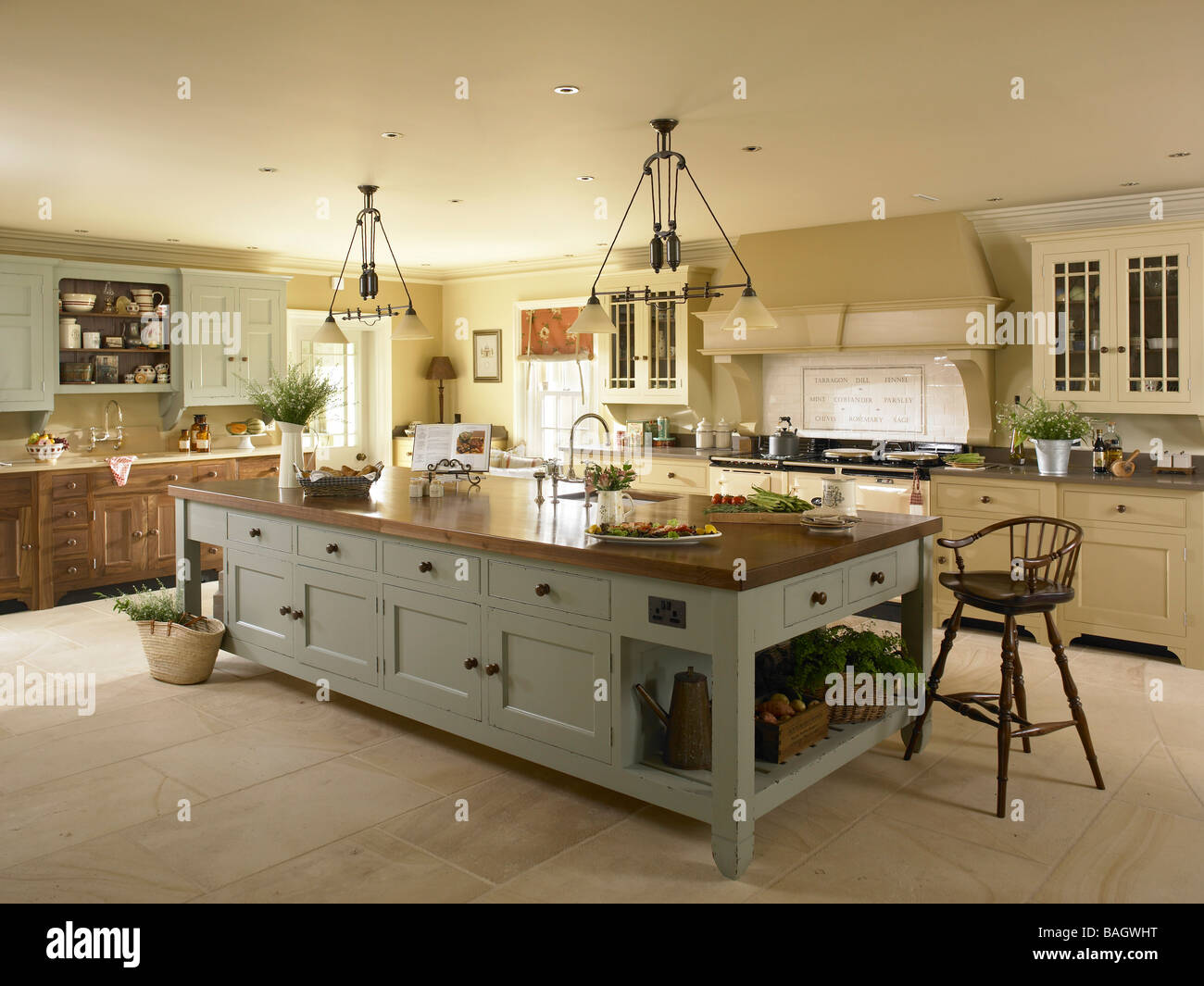 A large kitchen island unit stock photo royalty free for Large kitchen island ideas with seating
