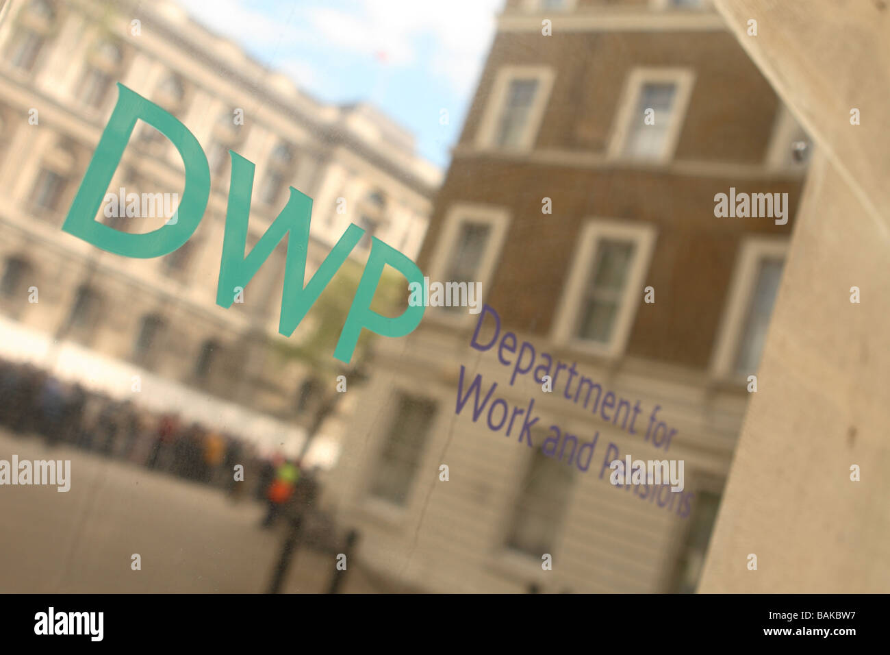 DWP Department for Work and Pensions government entrance sign building in Whitehall London Stock Photo