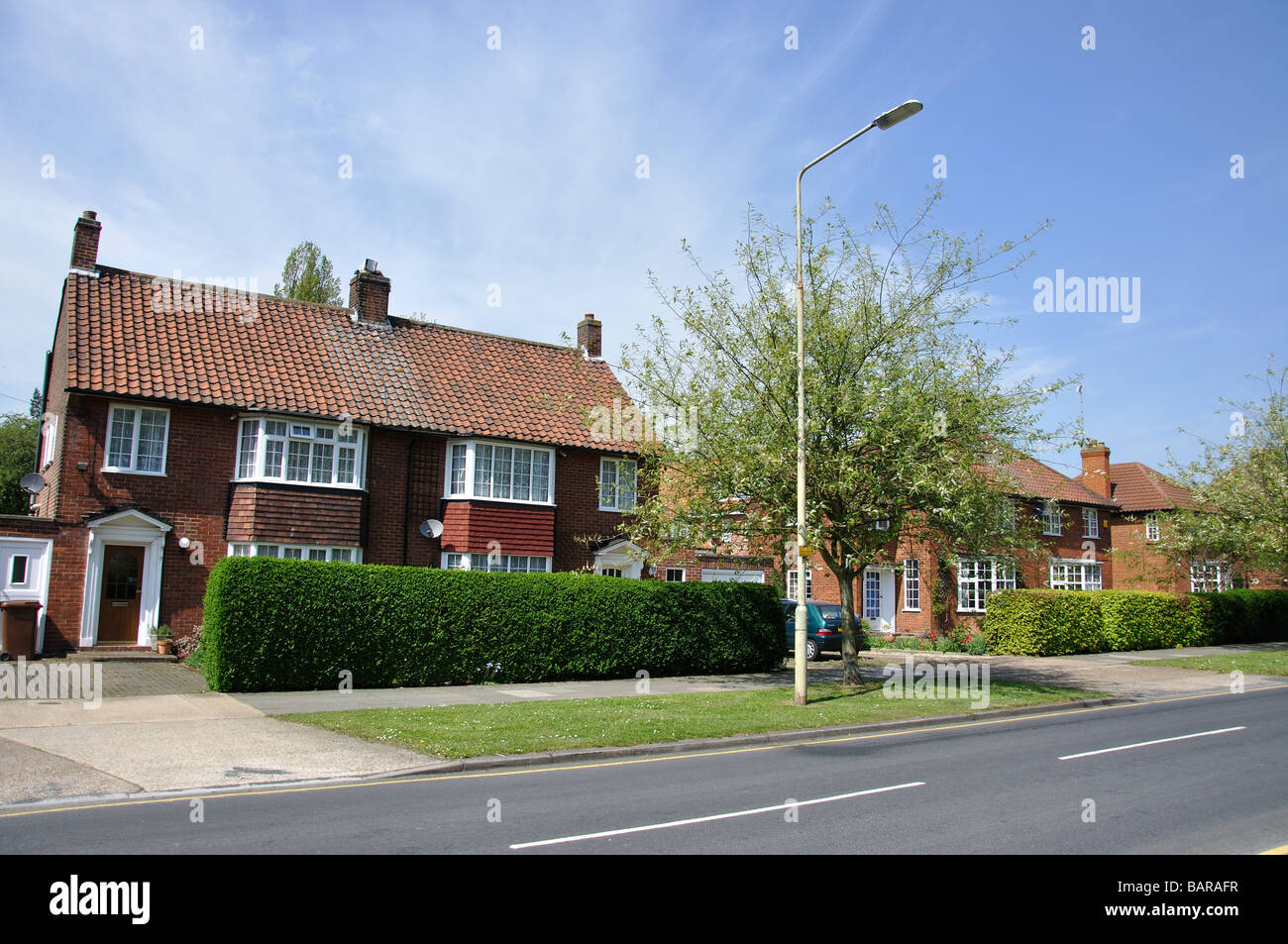 Typical Houses In Street Longcroft Lane Welwyn Garden City Stock Photo Royalty Free Image