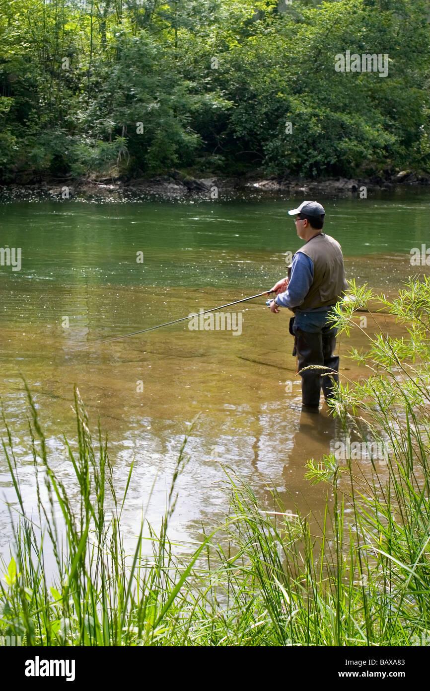 River bank fishing