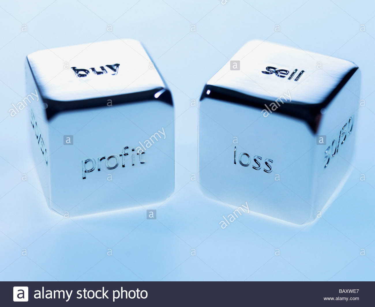 Close up silver cubes with sayings on them Stock Foto