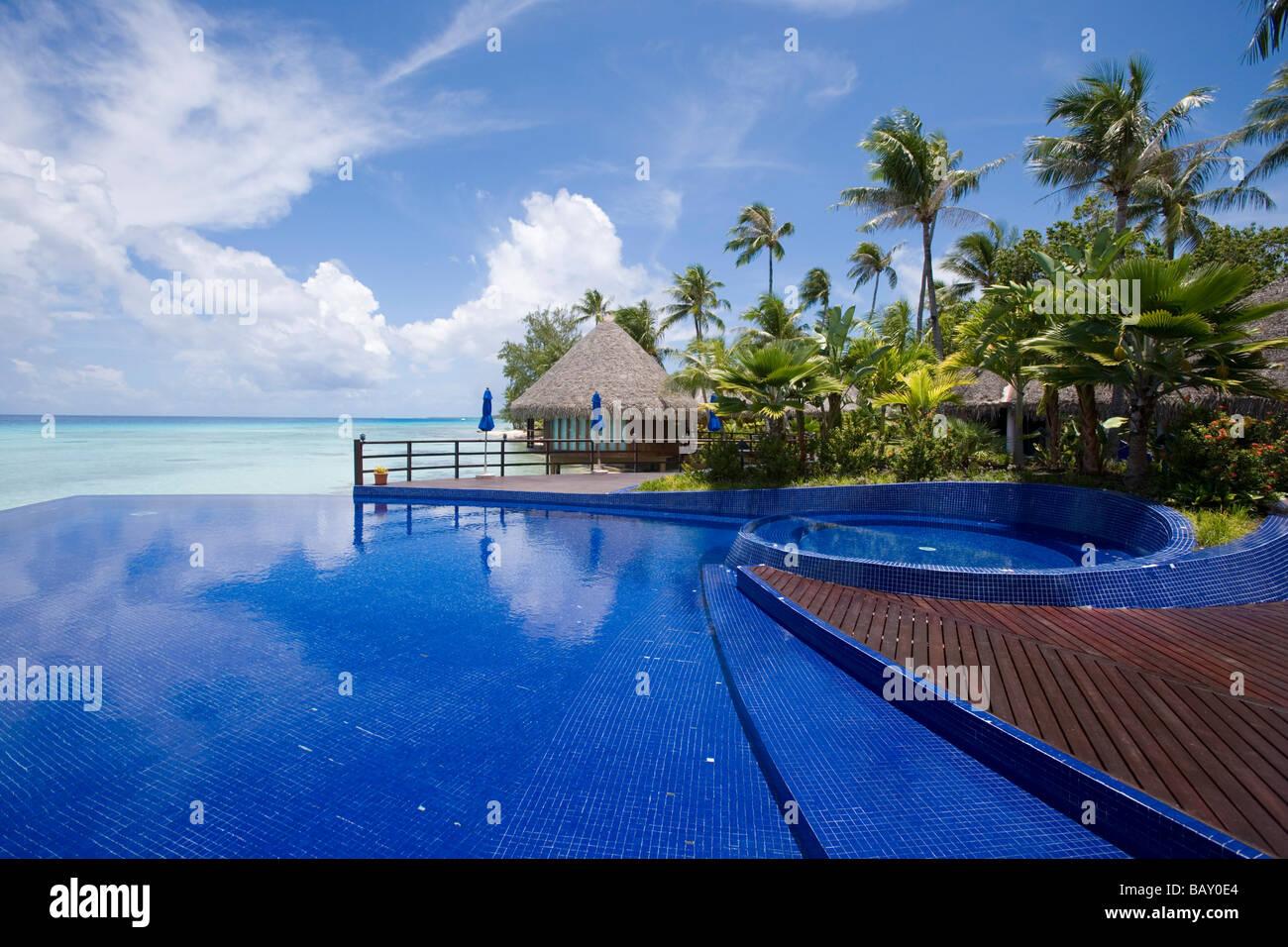 Swimming Pool Of Hotel Kia Ora Avatoru Rangiroa The Tuamotus Stock Photo Royalty Free Image
