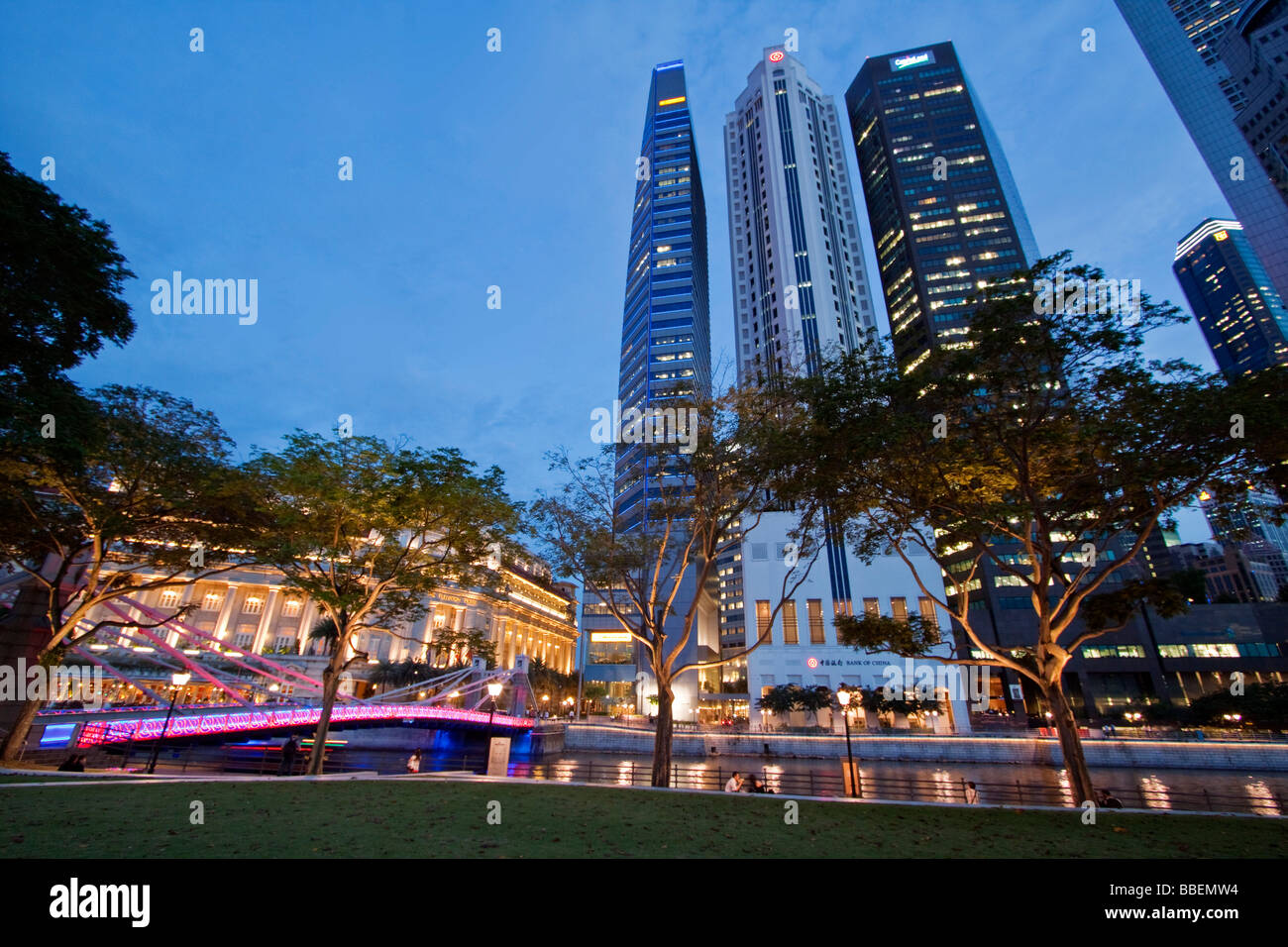 Singapore skyline panorama Fullerton Hotel, Singapur, travelstock44 Stock Foto
