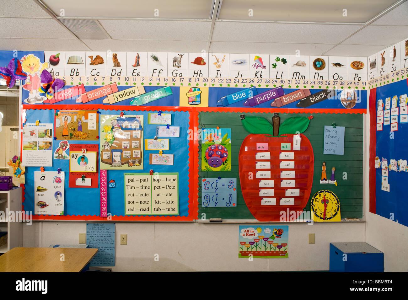 Alphabet Posters Displayed In Kindergarten Classroom