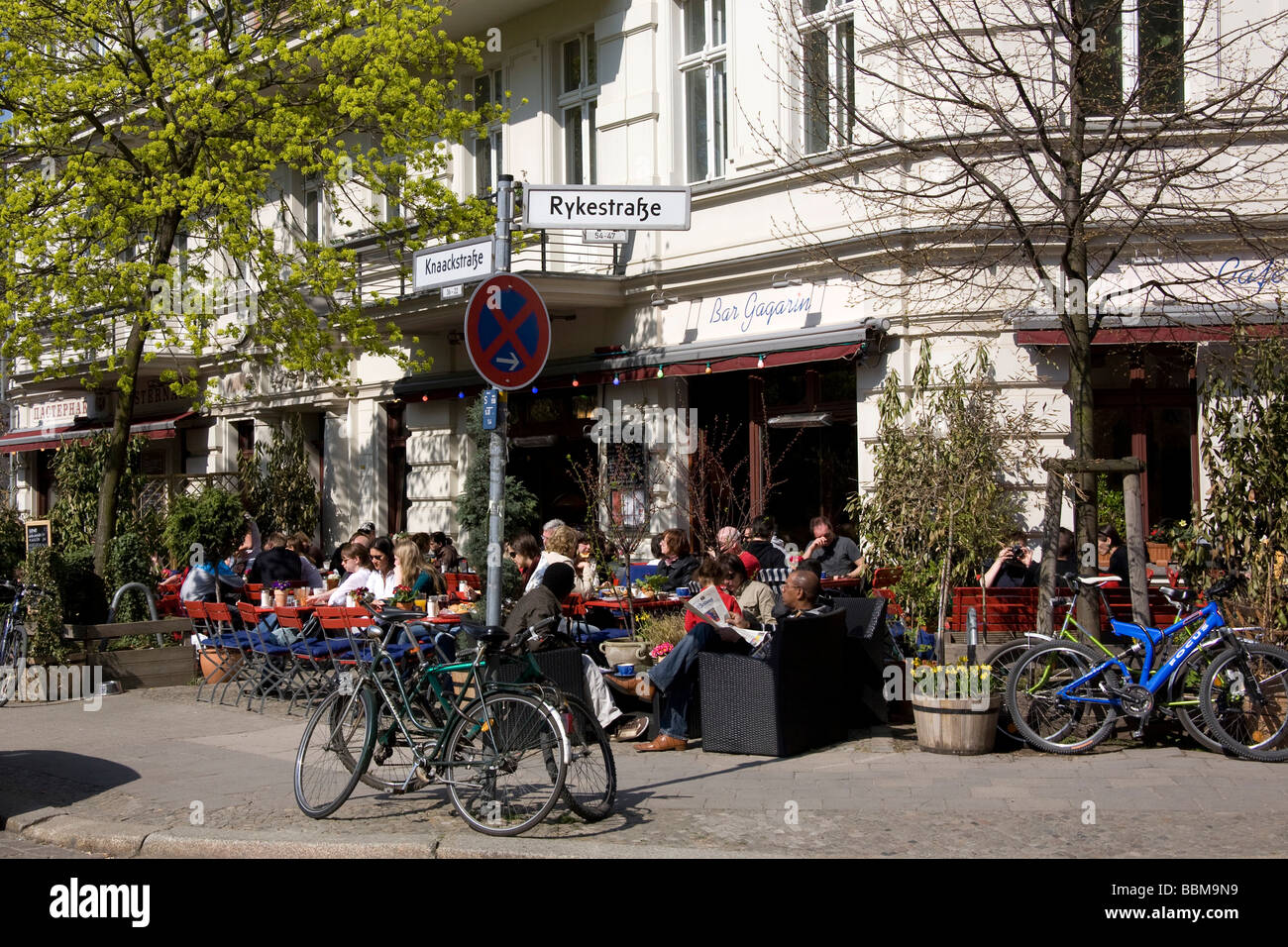 bar gagarin caf on kollwitzplatz square prenzlauer berg pankow stock photo royalty free. Black Bedroom Furniture Sets. Home Design Ideas