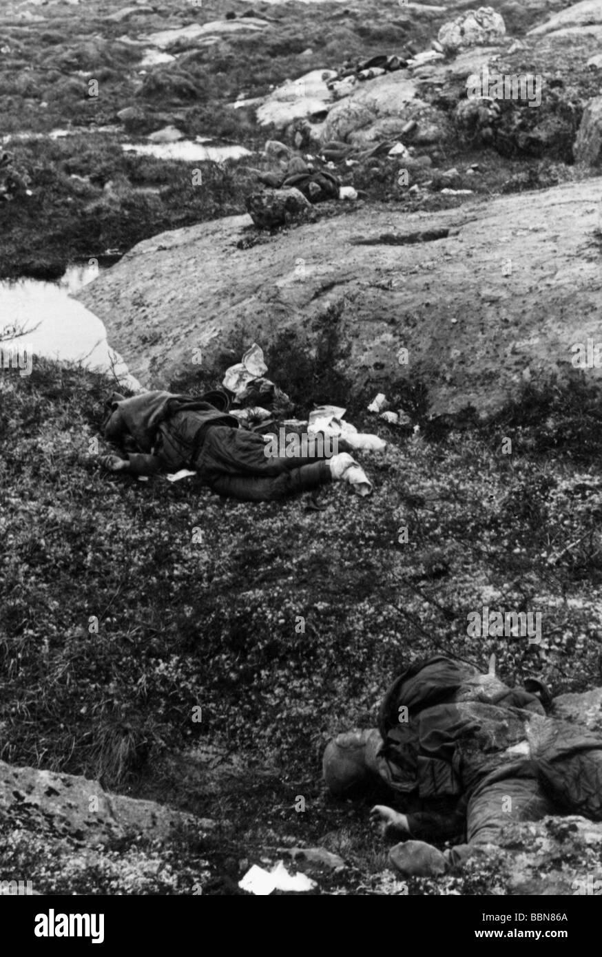 WWII B&W PHOTO Dead German Soldiers Filmed World War Two