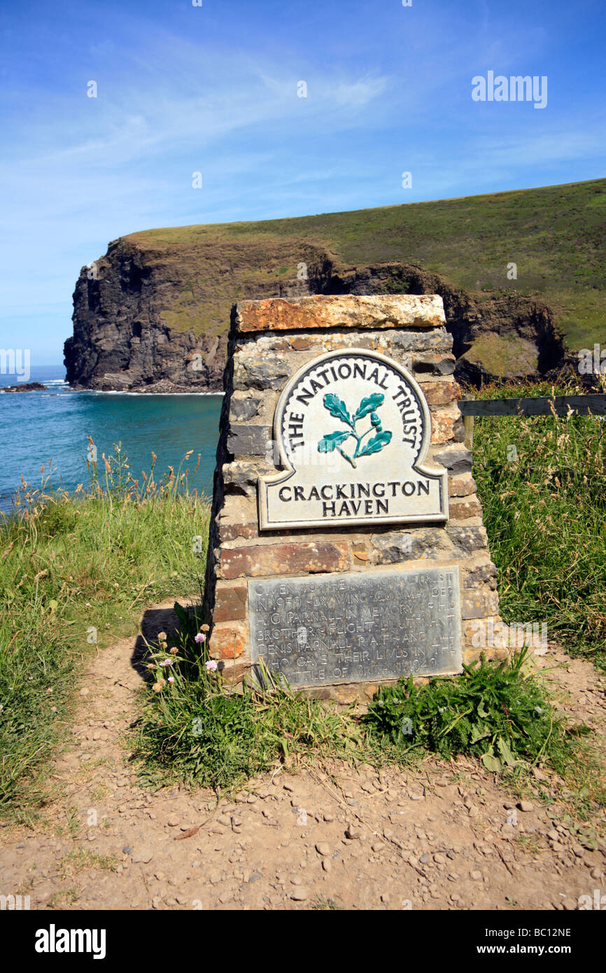 National Trust Dedication Plaque Crackington Haven Cornwall Stock Photo