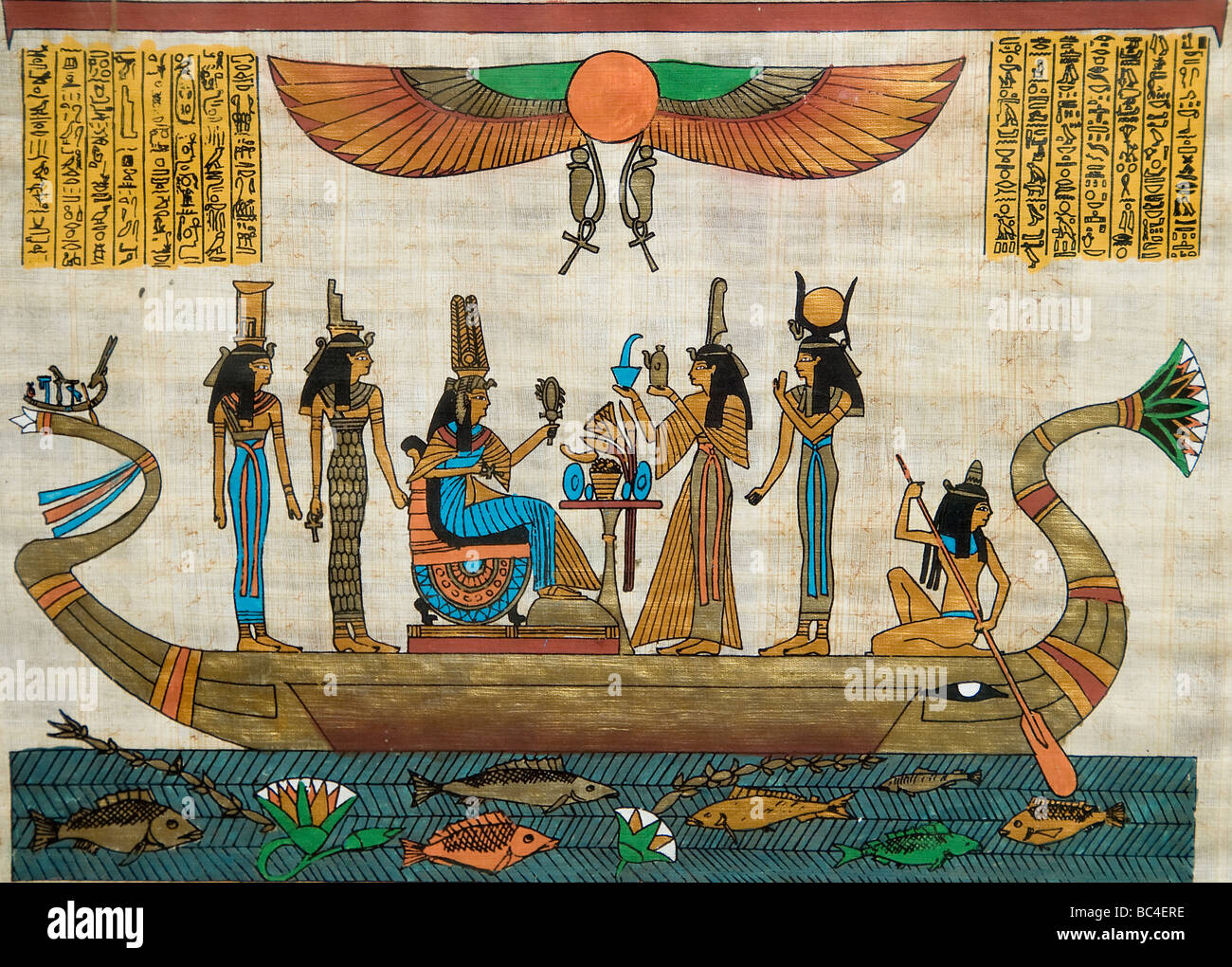 New egyptian paintings from pharaonic times on papyrus for Ancient egyptian mural paintings