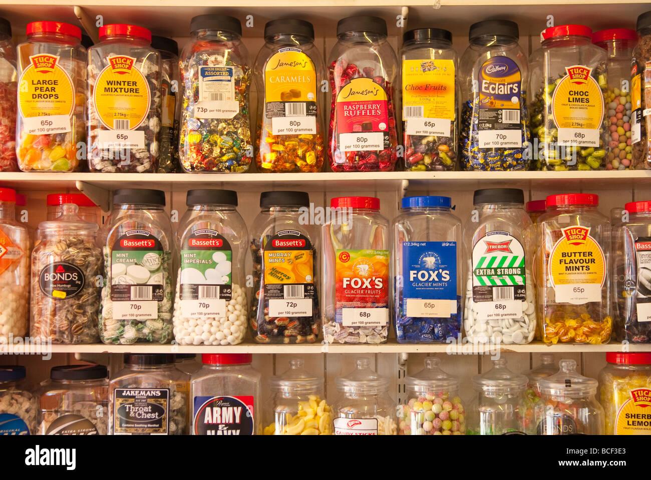 jars of sweets on shelves at a traditional sweet shop in. Black Bedroom Furniture Sets. Home Design Ideas