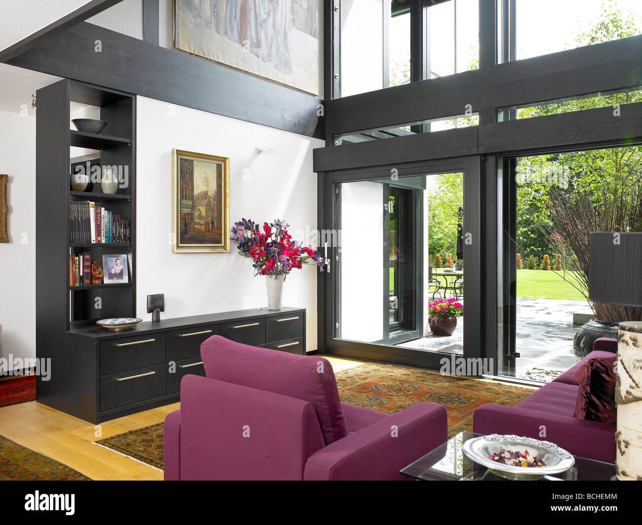 self build huf haus sitting room interior stock photo royalty free image 24970980 alamy. Black Bedroom Furniture Sets. Home Design Ideas