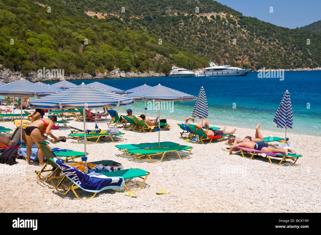 Kefalonia beach at Antisamos near Sami on the Greek island ...