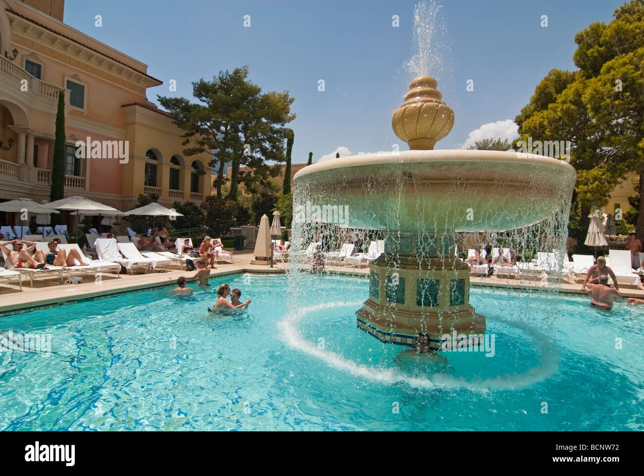 Luxurious Swimming Pool Of The Bellagio Resort And Casino In Las Stock Photo Royalty Free Image