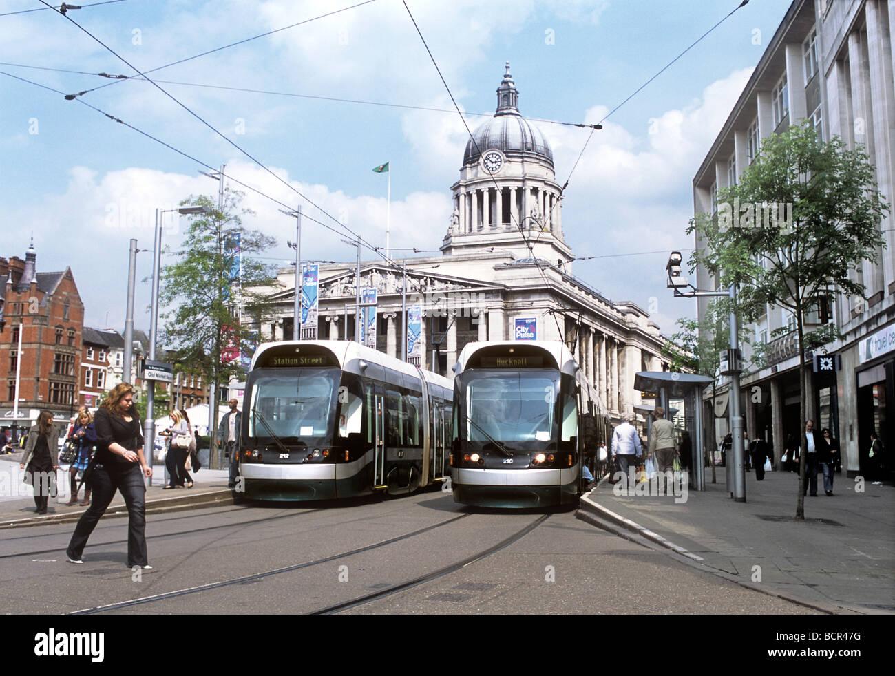 House Charging Station Old Market Square Tram Stop Nottingham City Centre Stock
