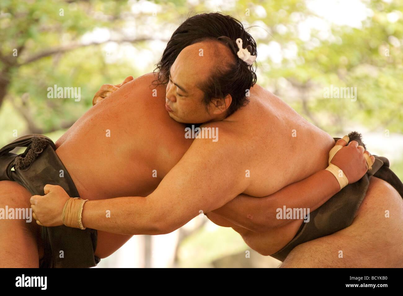 Sumo wrestlers of the Minezaki Heya during their early morning training, Kyuka Koen (Nine Flowers Park), Kuwana, Stock Foto